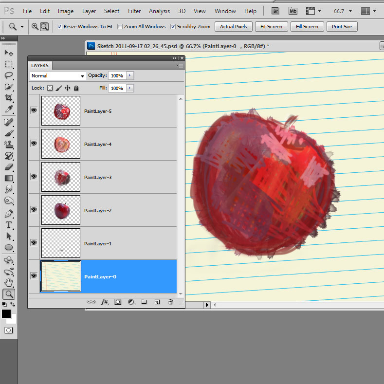 sketchbookpro layered psd file An apple a day   Day 1   Sketchbook Pro