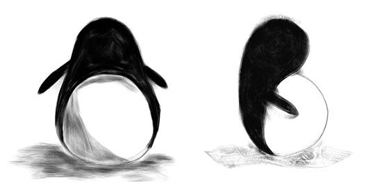 penguin harmonious Drawing Cute penguins on the iPad