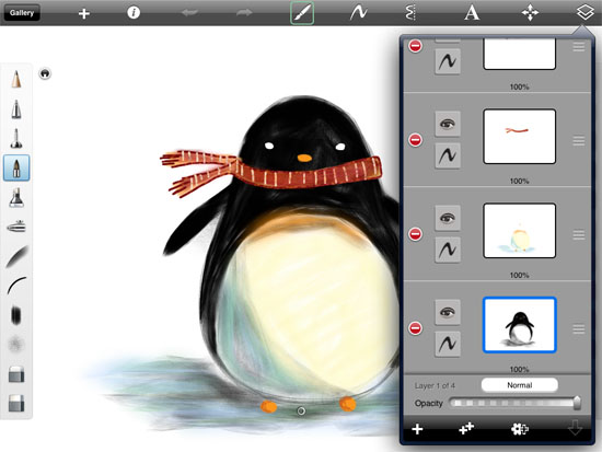 penguin harmonious in SketchBook Pro Drawing Cute penguins on the iPad