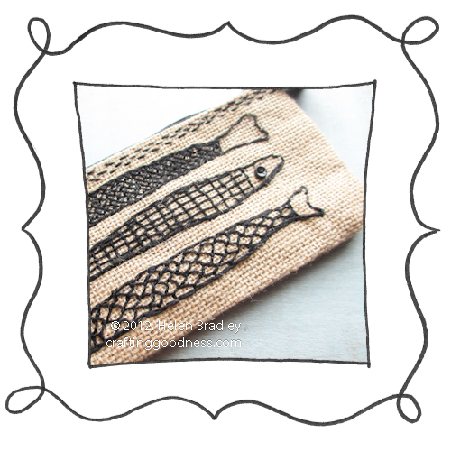 embroider burlap pencil case fish Burlap pencil cases   just demanding embroidery