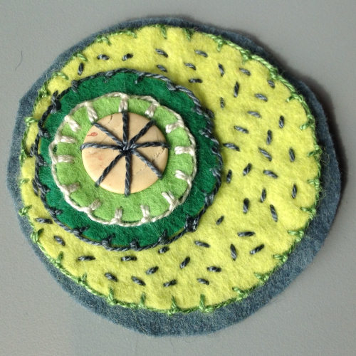 felt circles embroidery stitches 5 Felt Circles #6 Garden greens