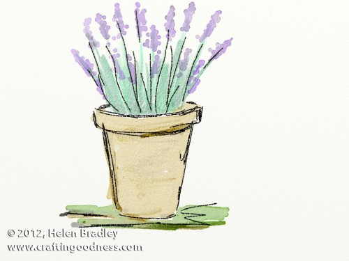 artrage lavendar watercolor original e1349908373187 Painting Water colors on the iPad in ArtRage   Lavender in a pot