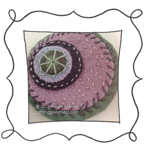 embroidery on felt stitches wool DMC 11 Felt Circles #11 Warmth in dusky pink and green grey