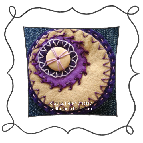 embroidery on felt stitches wool DMC 12 Felt circle embroidery #12   The magic of Purple and Gold