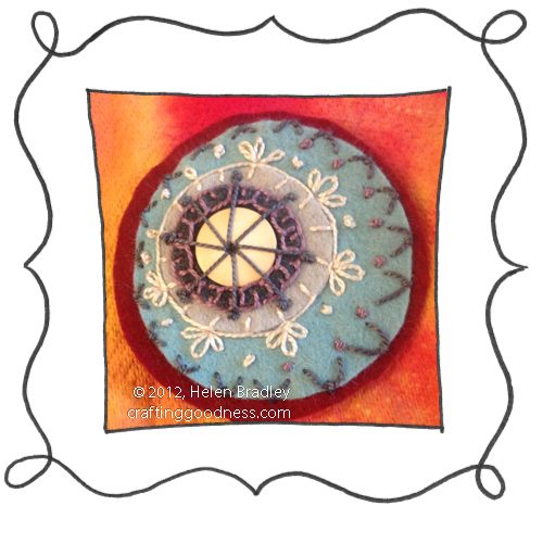 embroidery on felt stitches wool DMC 13 Felt circles # 13   Crimson and Blue
