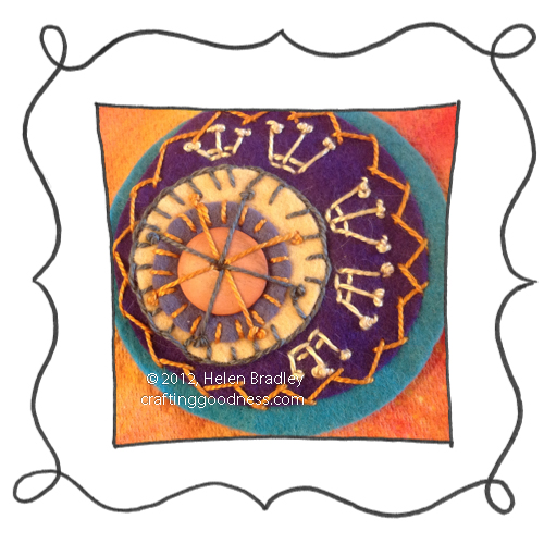 embroidery on felt stitches wool DMC 14 Felt circle embrodery #14   Musically Inspired