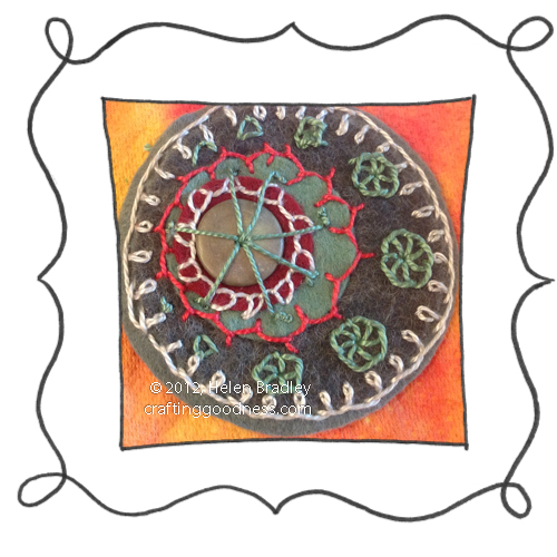 embroidery on felt stitches wool DMC 16 Felt circle embroidery #16   Somber with a flash of color