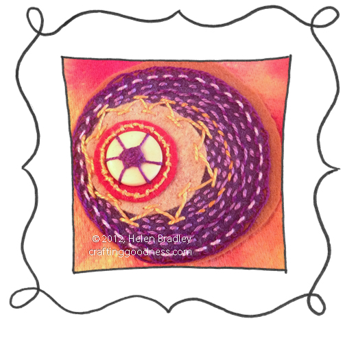 embroidery on felt stitches wool DMC 17 Felt circle embroidery #17   Colorful Running Stitches