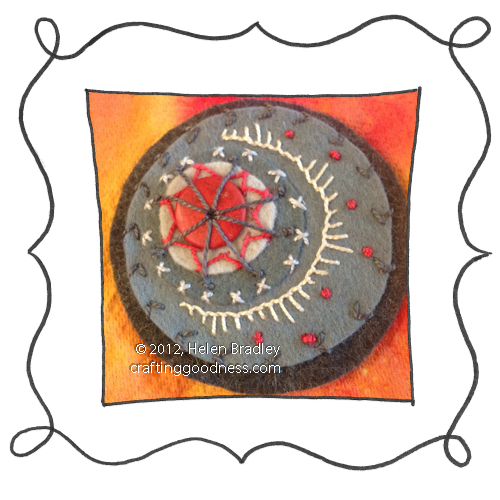 embroidery on felt stitches wool DMC 19 Felt circle embroidery #19   I gotta stop using gray felt