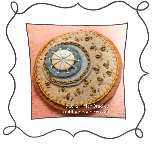 embroidery on felt stitches wool DMC 20 Felt circle embroidery #20   Tan and Blue