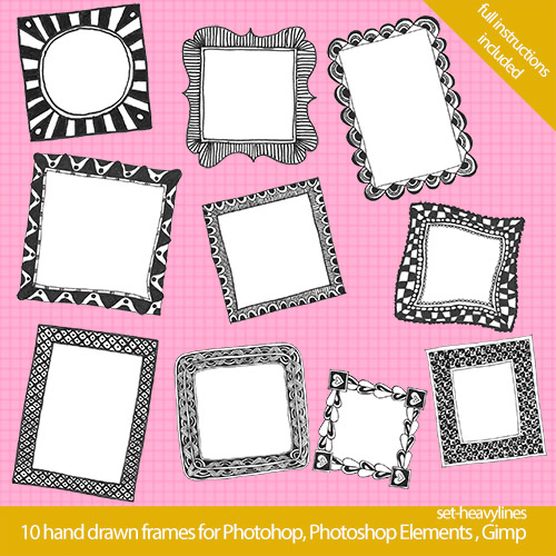 photoshop frames2 Cool Hand Drawn Frames for your Blog