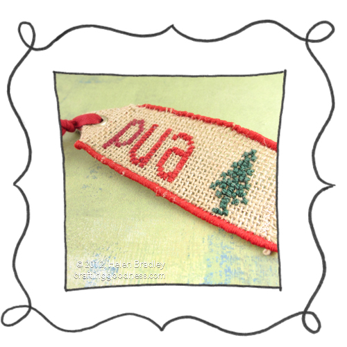 embroider burlap cross stitch christmas tags 1 Burlap Christmas Gift Tags