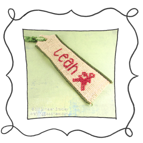 embroider burlap cross stitch christmas tags 2 Burlap Christmas Gift Tags