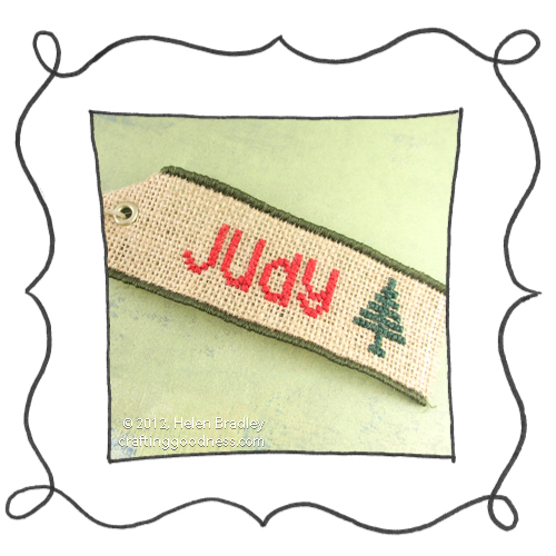 embroider burlap cross stitch christmas tags 34 Burlap Christmas Gift Tags