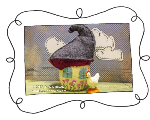 felt embroidered house mushroom rear Recycled MiO container   Mini Felt House