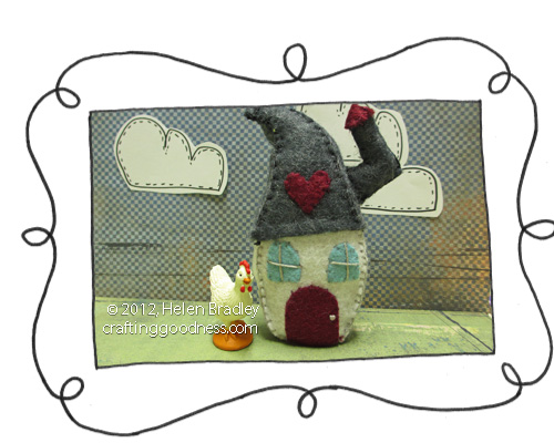 mini felt house with pattern opener Mini felt house   recycled MiO container with embroidery