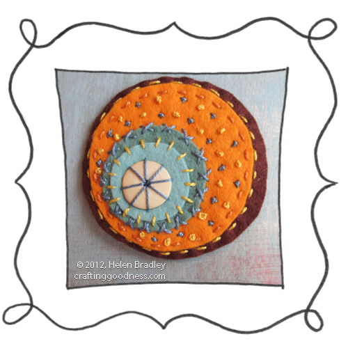 felt embroidered circle Felt circle embroidery #21   Oranges in Summer color scheme