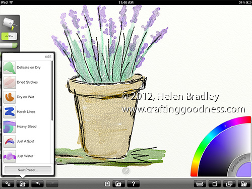 ipad artrage lavendar watercolor brushes Painting Water colors on the iPad in ArtRage   Lavender in a pot