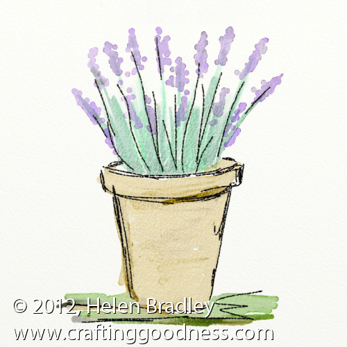 ipad artrage lavendar watercolor final Painting Water colors on the iPad in ArtRage   Lavender in a pot