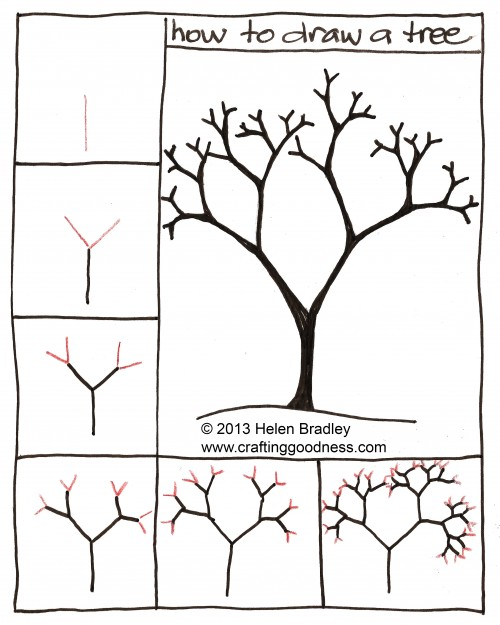 step by step how to draw a tree crafting goodness