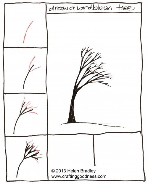 How to draw a tree step by step1 e1360794793755 How to Draw a Wind blown tree step by step