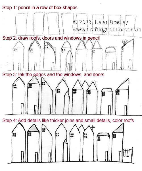 How To Draw A Set Of Row Houses How To Draw Houses Step By Step
