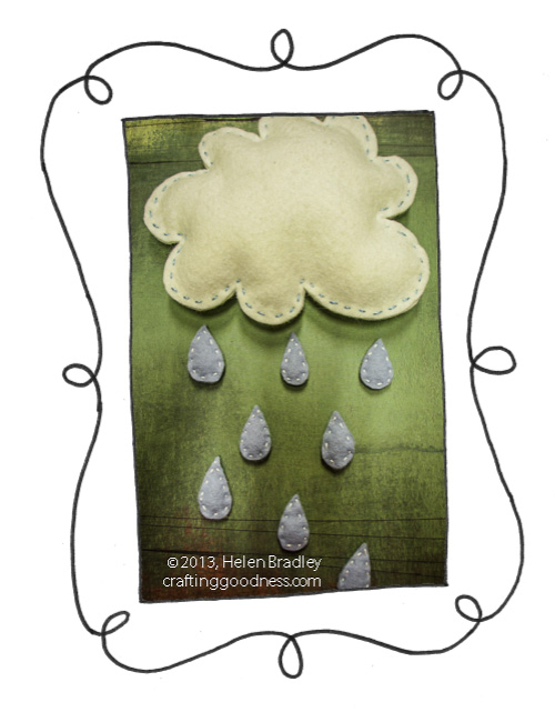 rain cloud felt hanging raindrops2. Make a rainy day wall hanging in felt