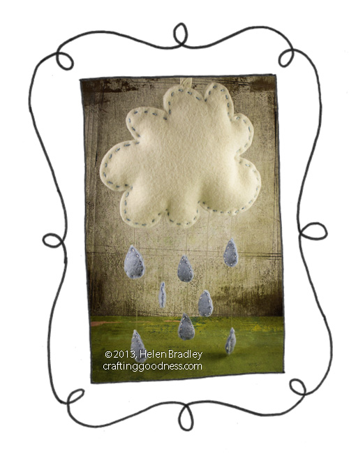 rain cloud felt hanging raindrops3 Make a rainy day wall hanging in felt