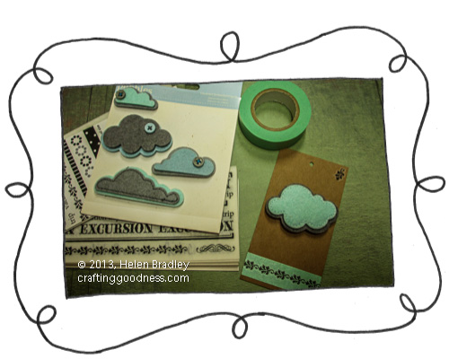 recycled clothing price tag felt dimensional cloud and rubons The Recycled Tag Project   Felt cloud stickers and rub ons