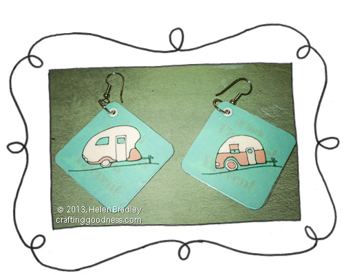 recycled clothing tags earrings with acetate blue 7 DIY Earrings from Recycled Price Tags