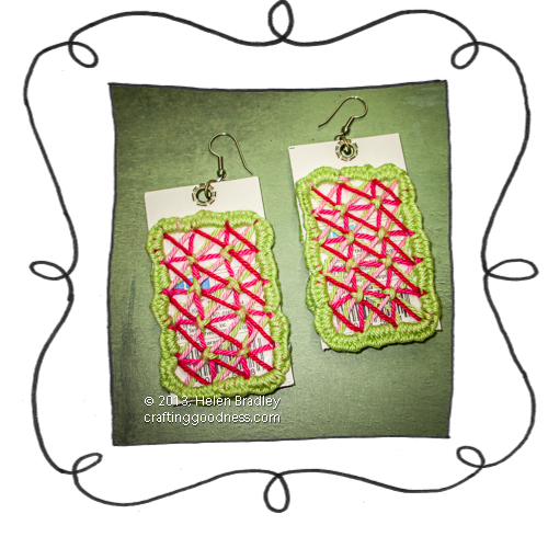 recycled clothing tags woven sewn earrings 9 back Recycled clothing price tag project   woven earrings
