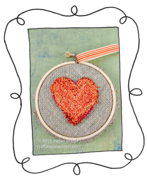 punch needle heart in embroidery hoop frame using dmc cotton 1 Valentines Heart   Fun with Punch Needle and Hoops