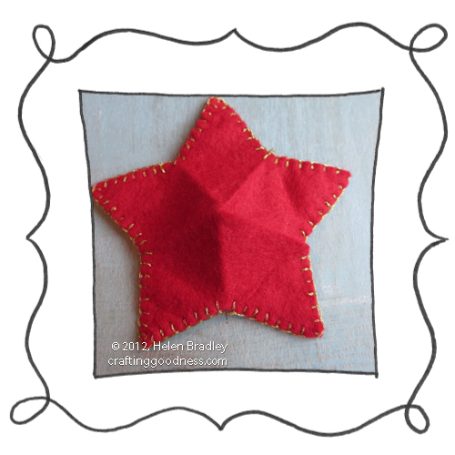 make a 5 pointed dimensional felt star ornament9 Make a dimensional felt 5 pointed star