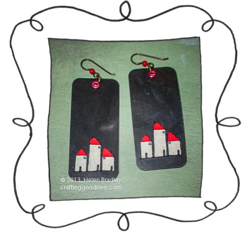 recycled clothing tags earrings with acetate black 12 Recycled clothing tag earrings with acetate images