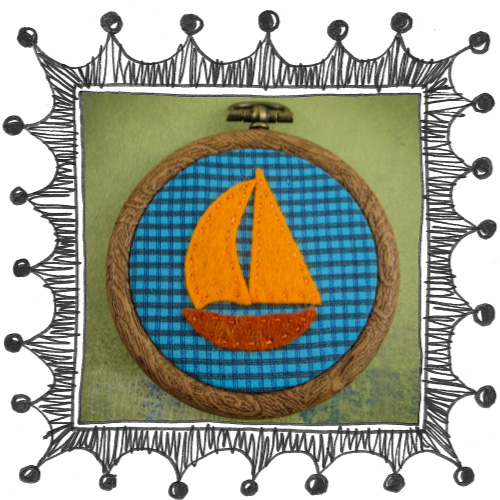 embroidered boat 1 1 Mini embroidery   sail boat
