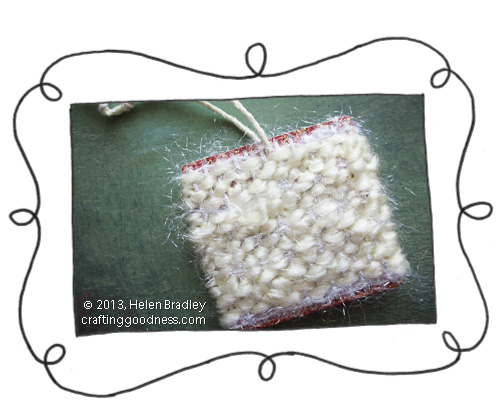 recycled clothing tags simple weaving loom fluffy tag opener Fluffy weaving on a recycled clothing tag