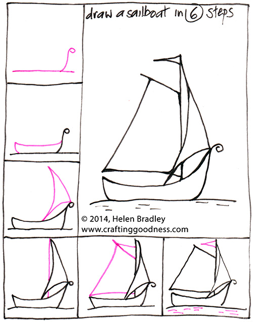 boat 6steps How to Draw a Sail Boat in 6 Steps