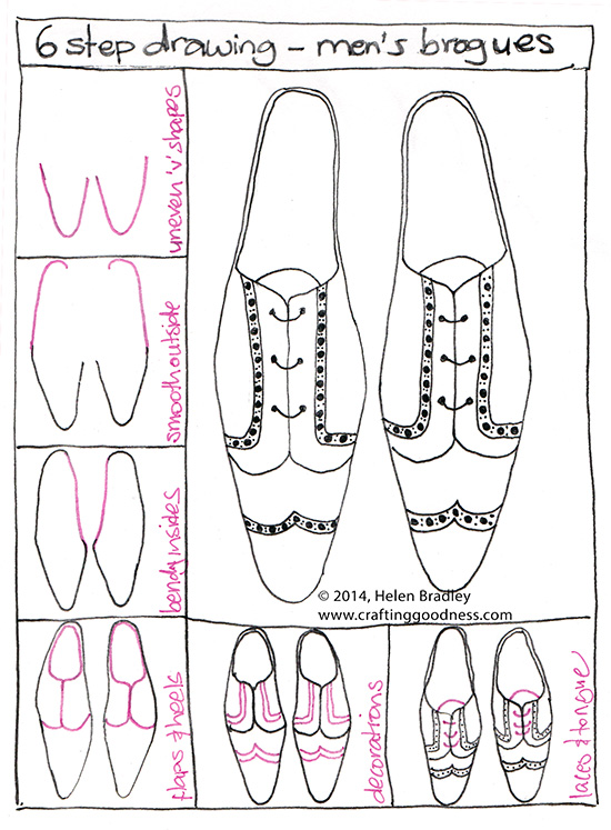 Brogues How To Draw In 6 Steps Shoes