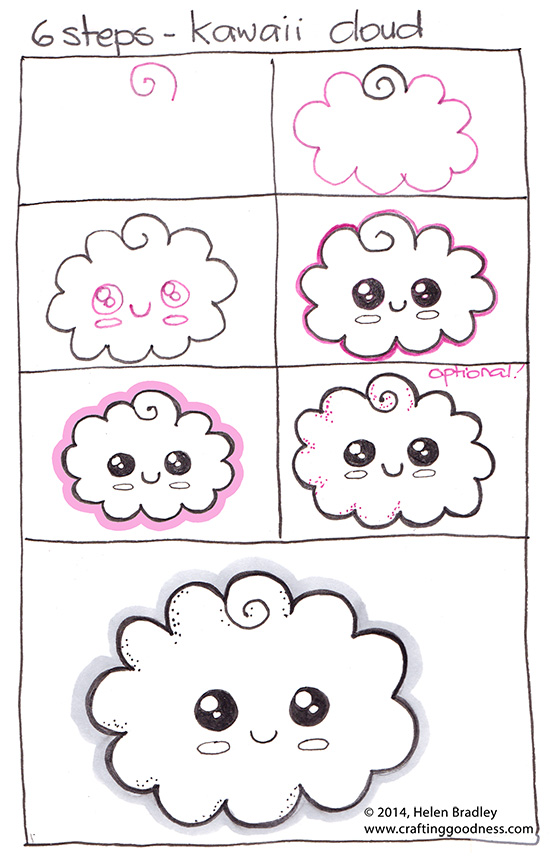 How To Draw A Kawaii Cloud Step By Step Crafting Goodness