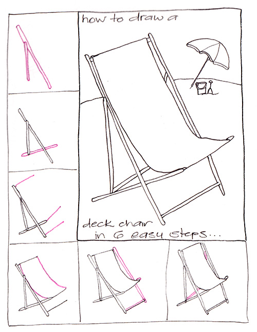 deck chair 6 steps How to Draw a Deck Chair in 6 Steps