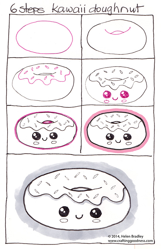 doughnut small How to Draw a Kawaii Doughnut