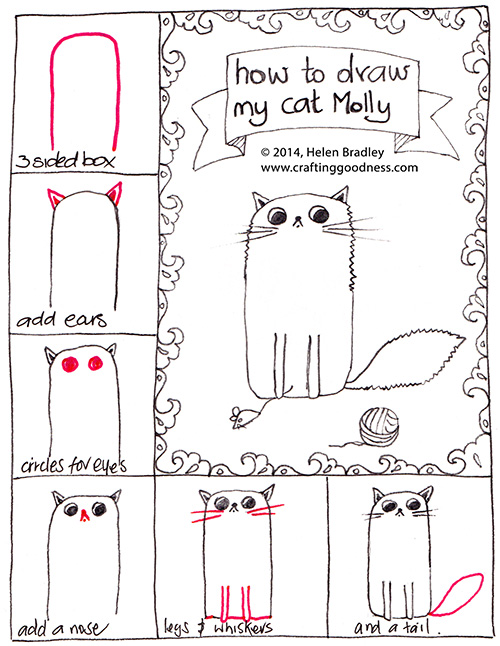molly 6steps How to Draw My Cat Molly in 6 Steps