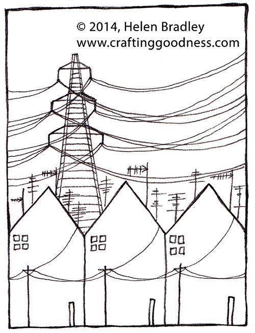 power lines Drawing row houses in an industrial setting
