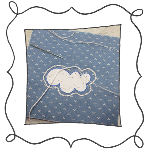 cloud reverse applique embroidery 02 Mini Reverse Applique and Embroidered Cloud