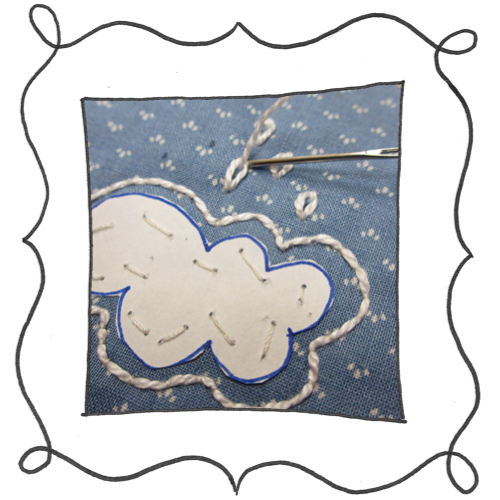 cloud reverse applique embroidery 04 Mini Reverse Applique and Embroidered Cloud