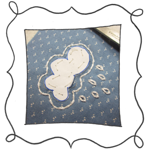 cloud reverse applique embroidery 05 Mini Reverse Applique and Embroidered Cloud