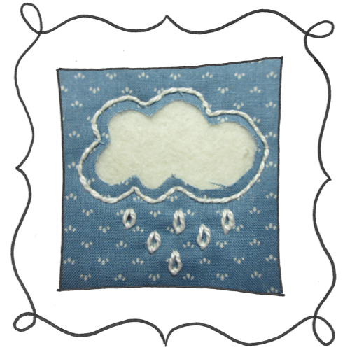 cloud reverse applique embroidery 06 Mini Reverse Applique and Embroidered Cloud
