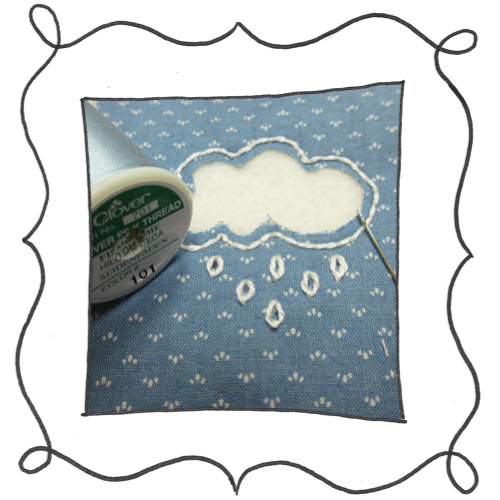 cloud reverse applique embroidery 08 Mini Reverse Applique and Embroidered Cloud