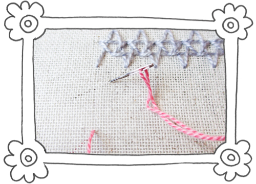 double insertion stitch steps 01 Double Insertion Stitch aka Two Sided Insertion Stitch