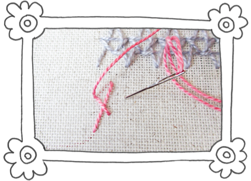 double insertion stitch steps 02 Double Insertion Stitch aka Two Sided Insertion Stitch